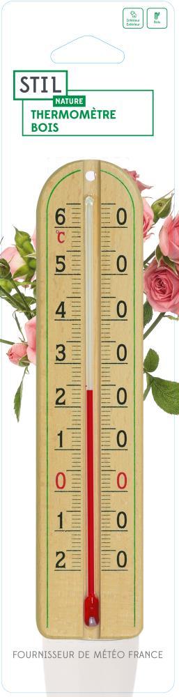 Thermomètre bois 22 cm
