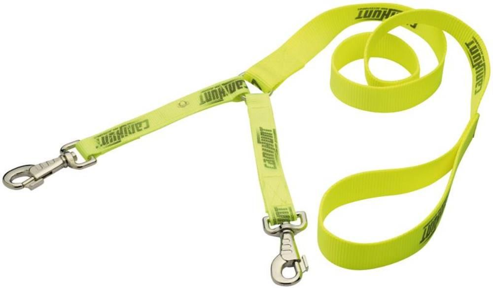 Laisse coupleur nylon jaune 150 cm