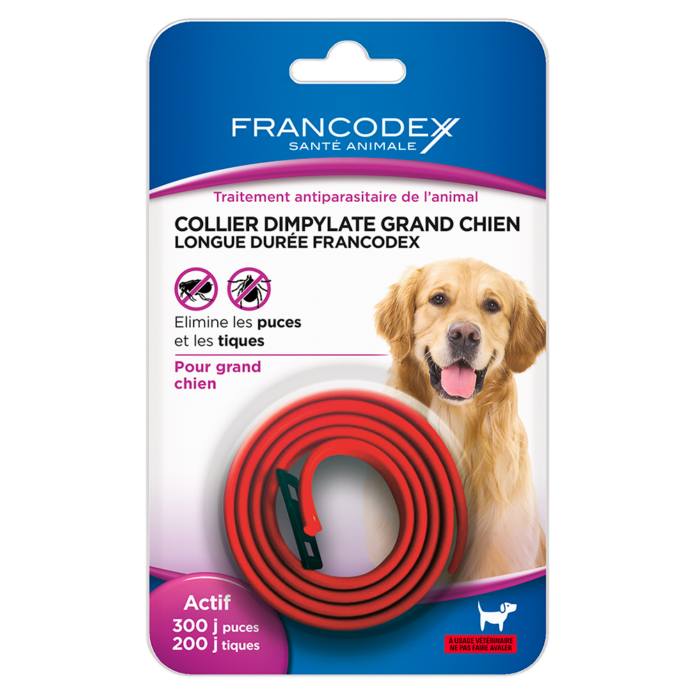 Collier insecticide grand chien rouge